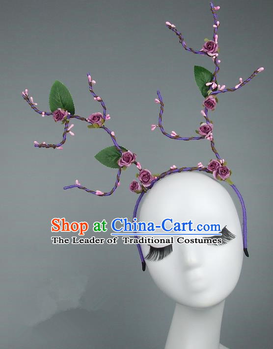 Handmade Halloween Fancy Ball Hair Accessories Purple Branch Flowers Headwear, Ceremonial Occasions Miami Model Show Headdress