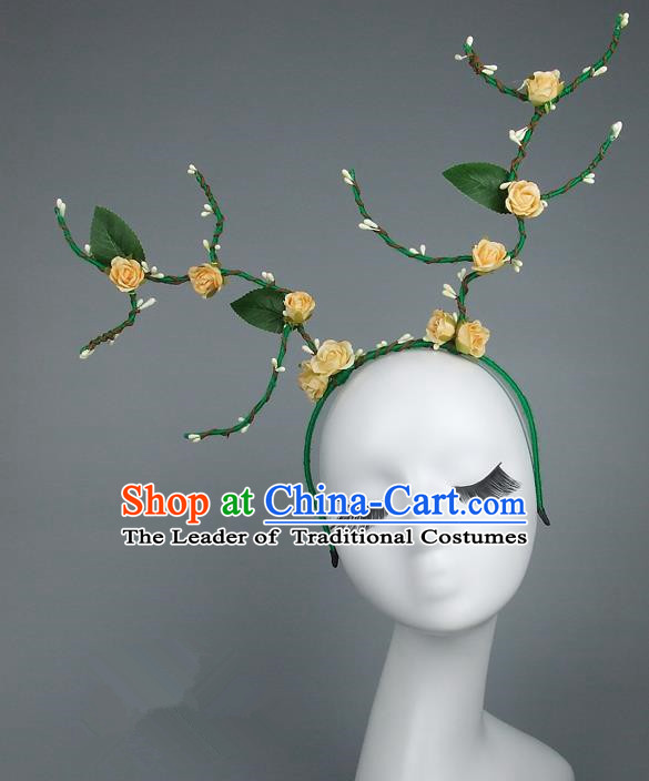 Handmade Halloween Fancy Ball Hair Accessories Yellow Flowers Headwear, Ceremonial Occasions Miami Model Show Headdress