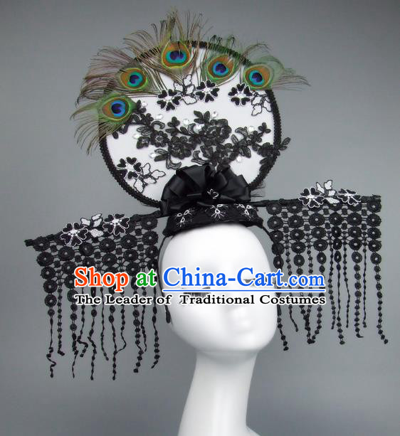 Handmade Asian Chinese Fan Hair Accessories Lace Tassel Headwear, Halloween Ceremonial Occasions Manchu Model Show Headdress