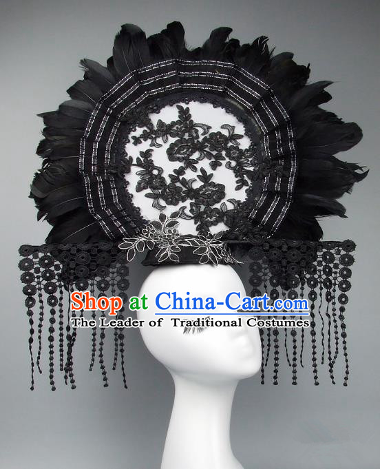Handmade Asian Chinese Fan Hair Accessories Black Feather Lace Tassel Headwear, Halloween Ceremonial Occasions Manchu Model Show Headdress