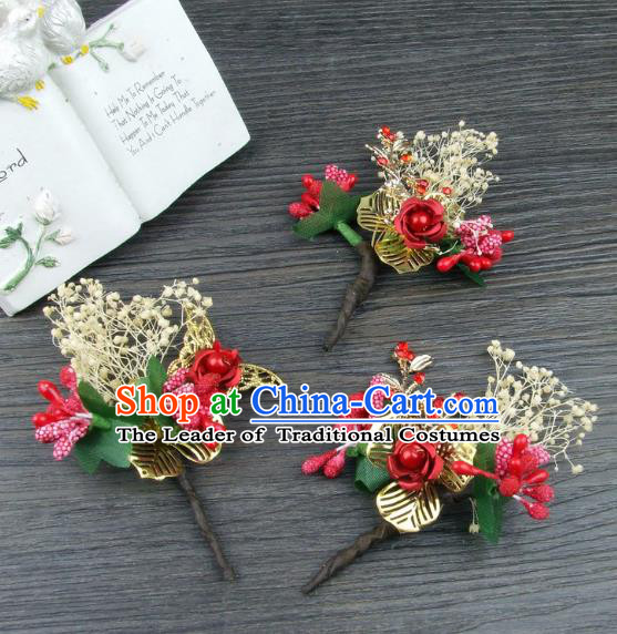 Top Grade Handmade Wedding Hair Accessories Headdress Silk Flowers, Baroque Style Bride Headwear for Women