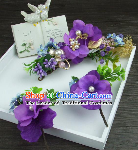 Top Grade Handmade Wedding Hair Accessories Purple Flowers Hair Stick, Baroque Style Bride Headwear for Women