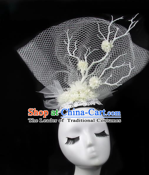 Handmade Exaggerate Fancy Ball Hair Accessories White Veil Headwear, Halloween Ceremonial Occasions Model Show Headdress