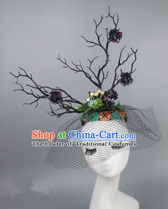 Handmade Exaggerate Fancy Ball Hair Accessories Branch Colorful Top Hat, Halloween Ceremonial Occasions Model Show Headdress