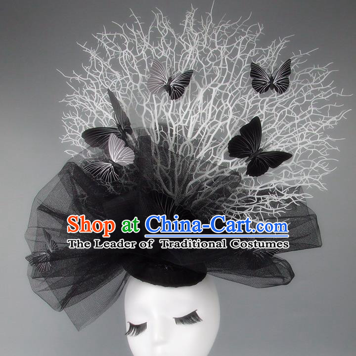Handmade Exaggerate Fancy Ball Hair Accessories Black Veil Butterfly Headwear, Halloween Ceremonial Occasions Model Show Headdress