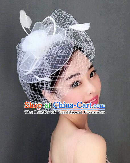 Top Grade Handmade Wedding Hair Accessories White Feather Veil Headwear, Baroque Style Bride Silk Headdress for Women