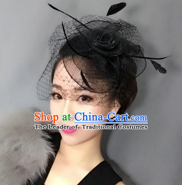 Top Grade Handmade Wedding Hair Accessories Black Feather Veil Headwear, Baroque Style Bride Silk Headdress for Women