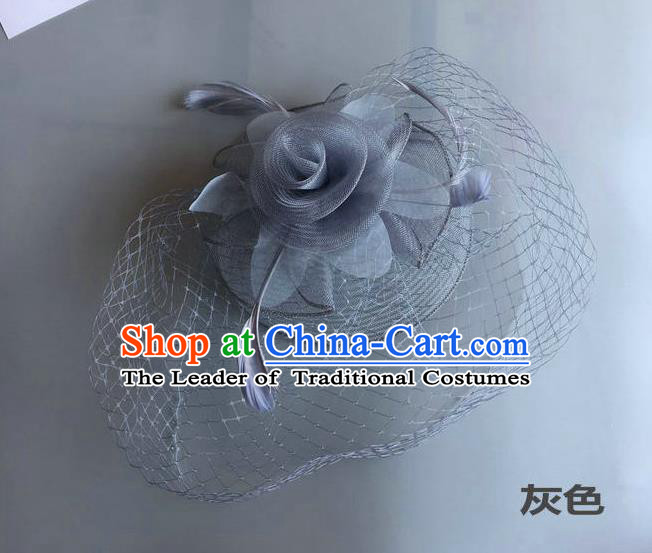 Top Grade Handmade Wedding Hair Accessories Grey Feather Veil Headwear, Baroque Style Bride Silk Headdress for Women