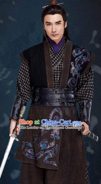 Traditional Chinese Qin Dynasty Swordsman Embroidered Costume, Asian China Ancient Assassin Clothing for Men
