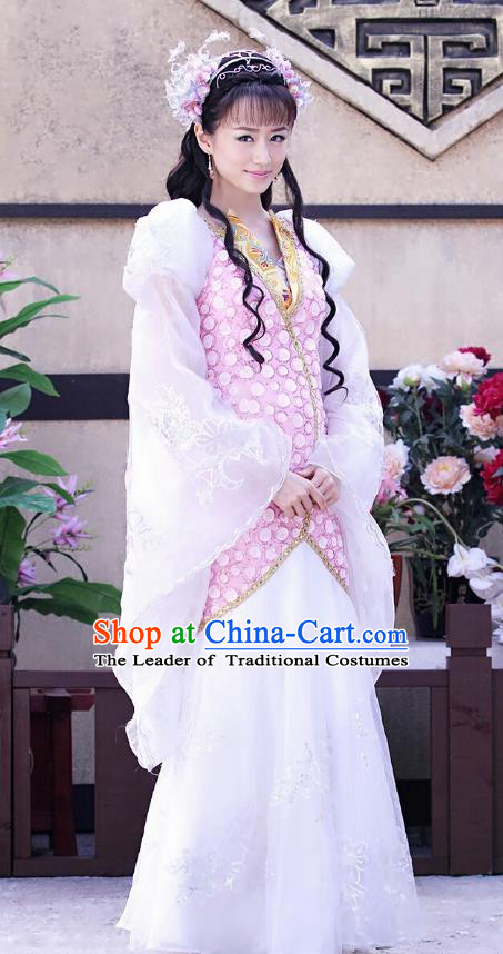 Traditional Chinese Ancient Princess Palace Lady Embroidered Dress Clothing Complete Set for Women