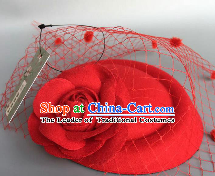 Handmade Wedding Vintage Hair Accessories Red Flower Veil Wool Top Hat, Bride Ceremonial Occasions Model Show Headdress