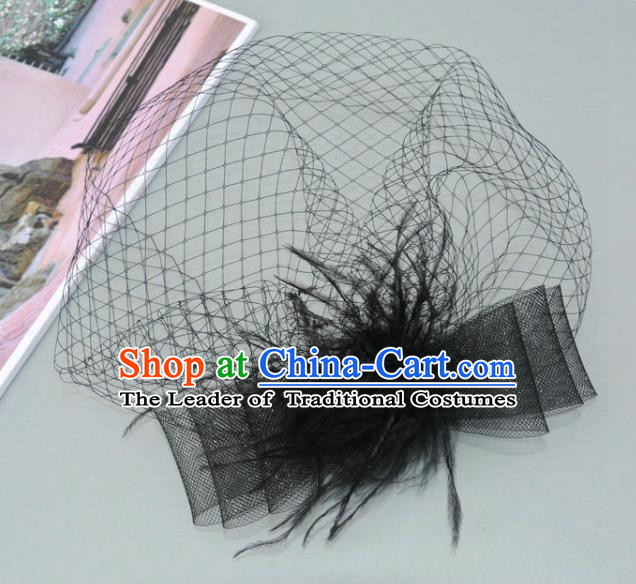 Handmade Vintage Hair Accessories Veil Black Bowknot Headwear, Bride Ceremonial Occasions Model Show Headdress