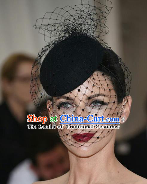 Handmade Vintage Hair Accessories Veil Black Top Hat Headwear, Bride Ceremonial Occasions Model Show Headdress