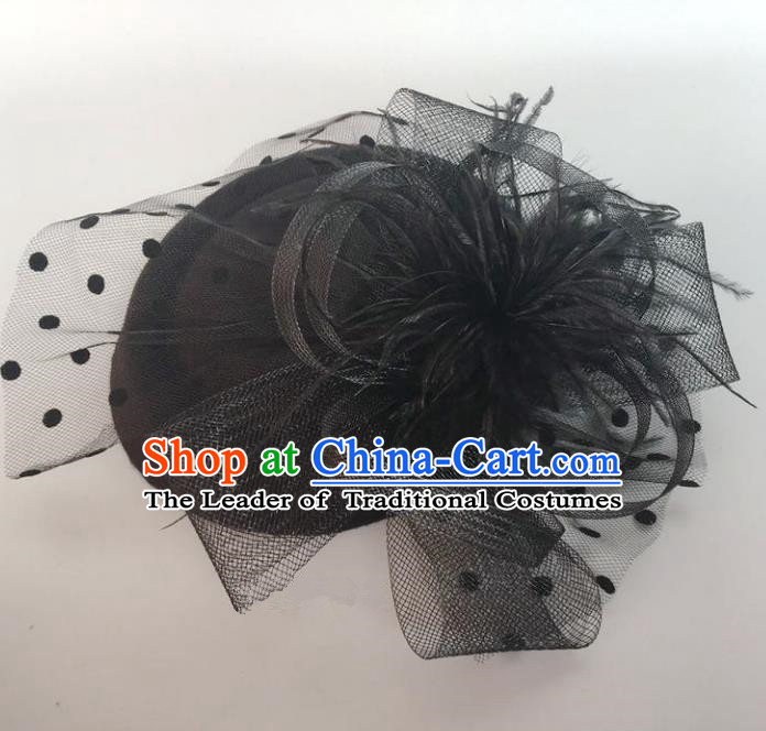 Handmade Vintage Hair Accessories Veil Black Flower Top Hat Headwear, Bride Ceremonial Occasions Model Show Headdress
