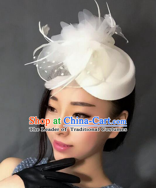 Handmade Exaggerate Wedding Hair Accessories White Feather Top Hat, Bride Ceremonial Occasions Vintage Headwear