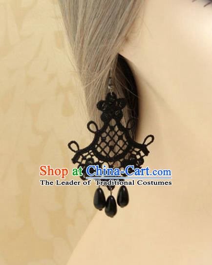 Handmade Wedding Accessories Black Lace Earrings, Bride Ceremonial Occasions Vintage Eardrop
