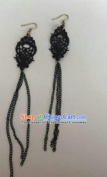 Handmade Wedding Accessories Black Lace Tassel Earrings, Bride Ceremonial Occasions Vintage Eardrop