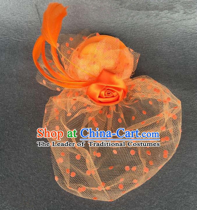 Handmade Baroque Hair Accessories Orange Feather Headwear, Bride Ceremonial Occasions Vintage Veil Top Hat for Kids