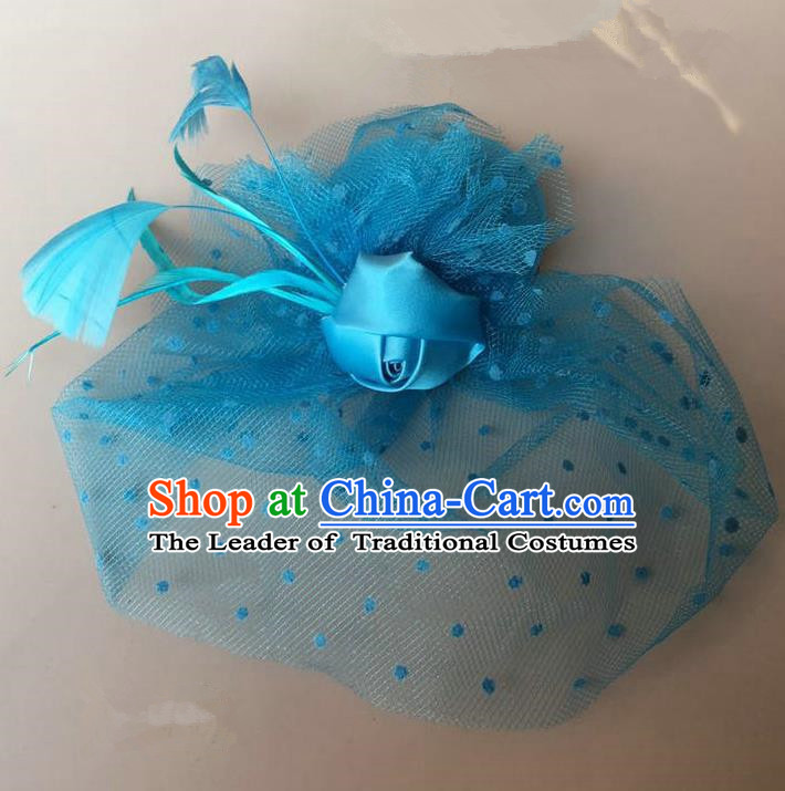 Handmade Baroque Hair Accessories Blue Feather Headwear, Bride Ceremonial Occasions Vintage Veil Top Hat for Kids