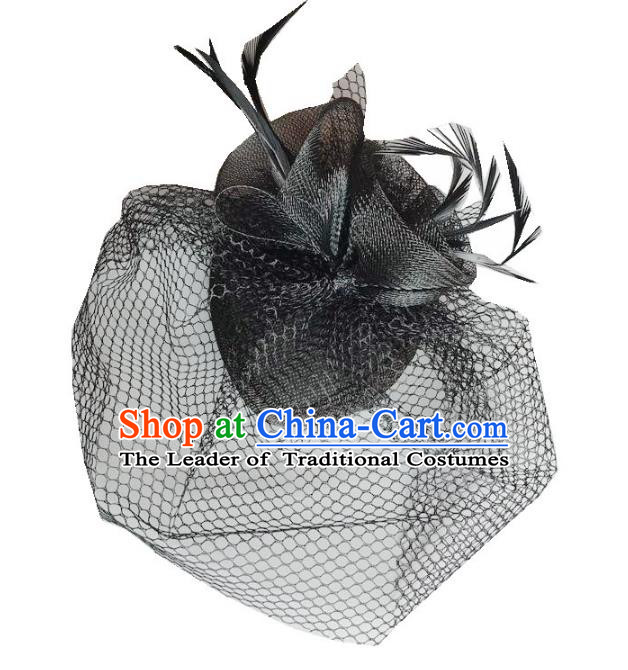 Handmade Baroque Hair Accessories Black Feather Headwear, Bride Ceremonial Occasions Vintage Veil Top Hat for Women