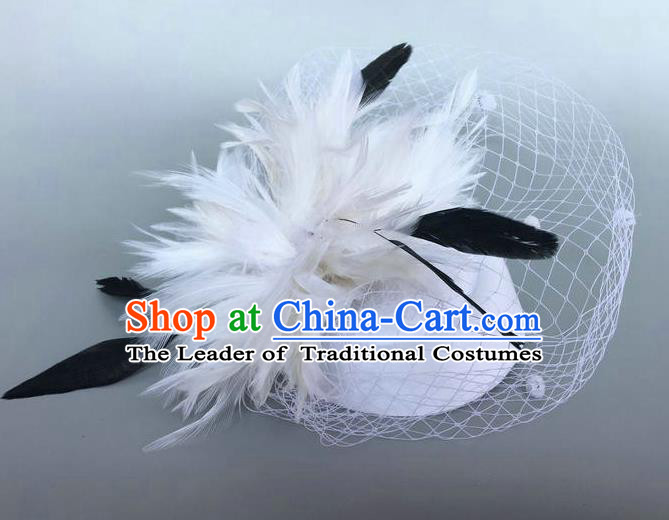 Handmade Baroque Wedding Hair Accessories White Feather Flowers Headwear, Bride Ceremonial Occasions Vintage Top Hat for Women