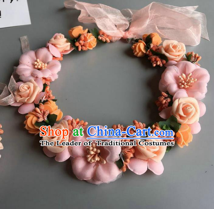Handmade Baroque Wedding Hair Accessories Light Pink Flowers Garland Headwear, Bride Ceremonial Occasions Vintage Hair Clasp for Women