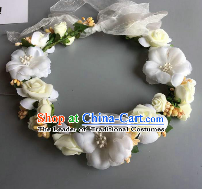 Handmade Baroque Wedding Hair Accessories White Flowers Garland Headwear, Bride Ceremonial Occasions Vintage Hair Clasp for Women