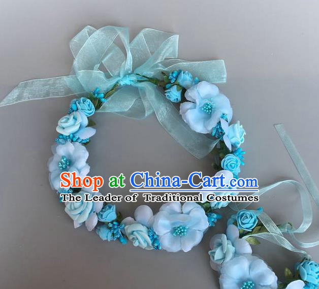 Handmade Baroque Wedding Hair Accessories Blue Flowers Garland Headwear, Bride Ceremonial Occasions Vintage Hair Clasp for Women
