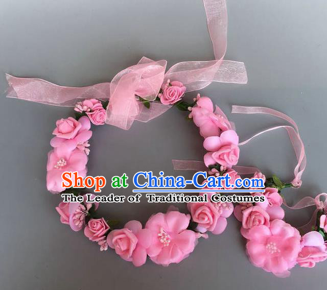 Handmade Baroque Wedding Hair Accessories Pink Flowers Garland Headwear, Bride Ceremonial Occasions Vintage Hair Clasp for Women