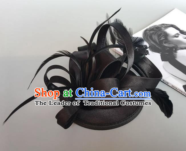 Handmade Wedding Hair Accessories Black Feather Headwear, Bride Ceremonial Occasions Vintage Top Hat