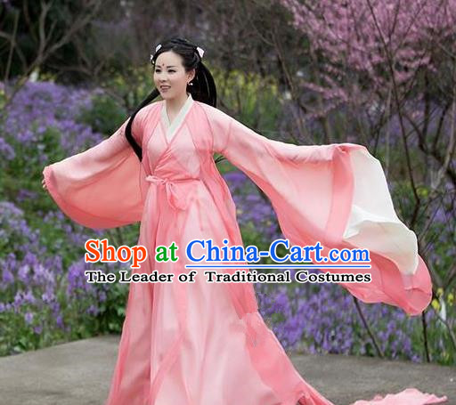 Traditional Chinese Ancient Peri Embroidered Costume, China Ten great III of peach blossom Princess Fairy Pink Dress Clothing
