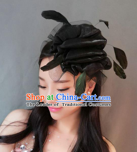 Handmade Baroque Hair Accessories Model Show Black Feather Hair Stick, Bride Ceremonial Occasions Headwear for Women