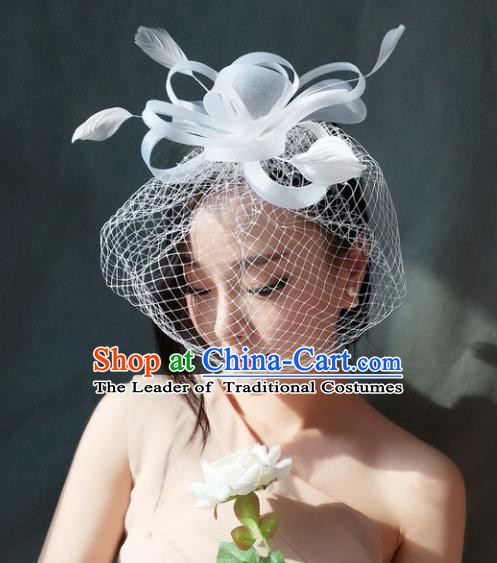 Handmade Baroque Hair Accessories Model Show White Veil Hair Stick, Bride Ceremonial Occasions Headwear for Women