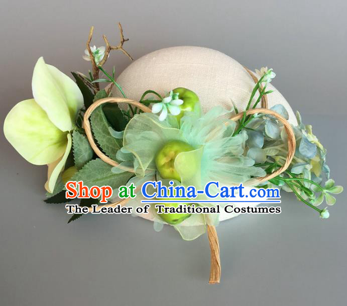 Handmade Baroque Hair Accessories Model Show Green Silk Top Hat, Bride Ceremonial Occasions Flowers Headwear for Women
