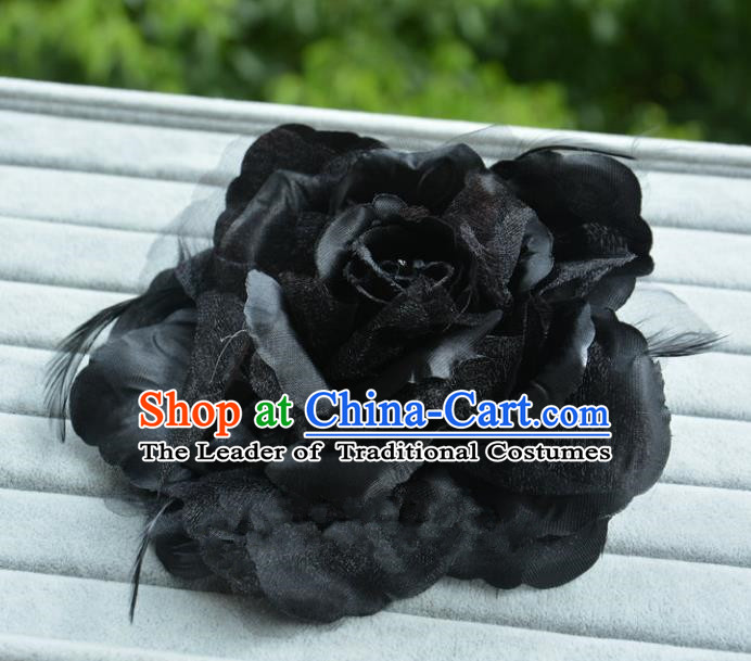 Handmade Baroque Hair Accessories Model Show Black Feather Flower Hair Stick, Bride Ceremonial Occasions Headwear for Women