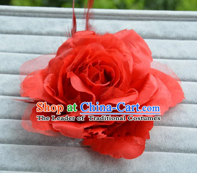 Handmade Baroque Hair Accessories Model Show Red Feather Flower Hair Stick, Bride Ceremonial Occasions Headwear for Women