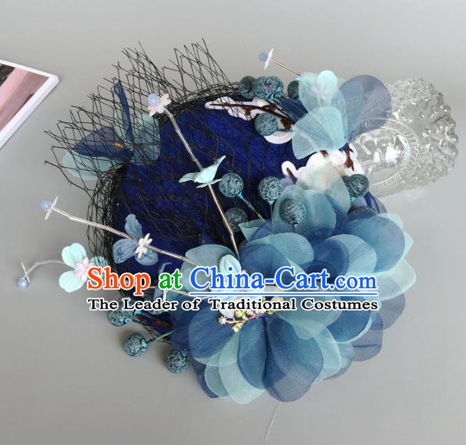 Handmade Baroque Wedding Hair Accessories Blue Flowers Headwear, Bride Ceremonial Occasions Vintage Top Hat for Women