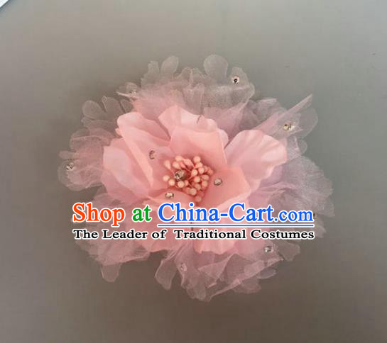 Handmade Baroque Hair Accessories Model Show Pink Flowers Hair Stick, Bride Ceremonial Occasions Headwear for Women
