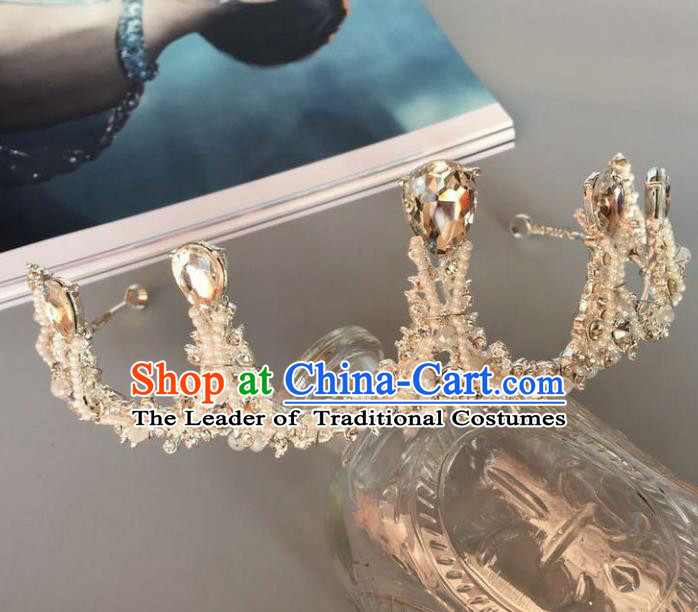 Handmade Baroque Hair Accessories Model Show Crystal Royal Crown, Bride Ceremonial Occasions Headwear for Women