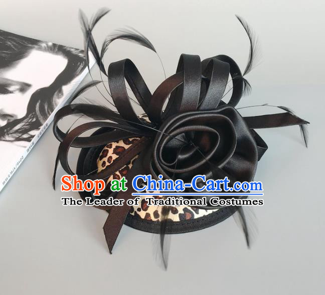 Top Grade Handmade Wedding Hair Accessories Black Feather Hair Clasp, Baroque Style Bride Halloween Headdress for Women