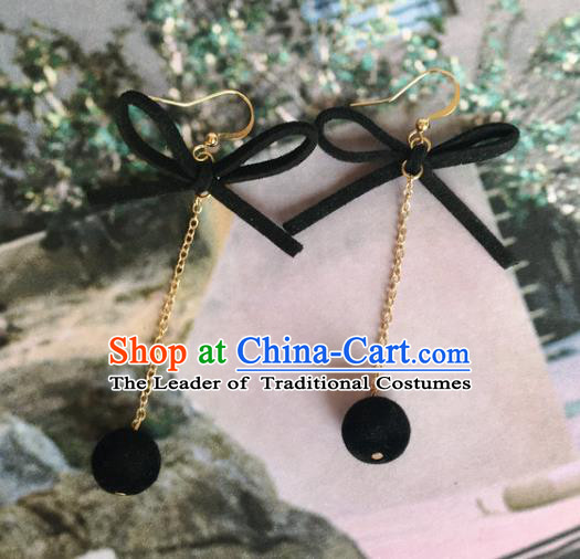 Handmade Wedding Accessories Black Bowknot Earrings, Bride Ceremonial Occasions Tassel Eardrop for Women