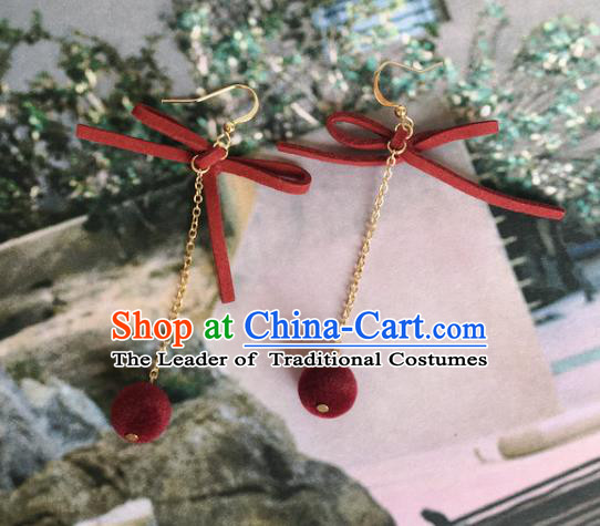 Handmade Wedding Accessories Red Bowknot Earrings, Bride Ceremonial Occasions Tassel Eardrop for Women