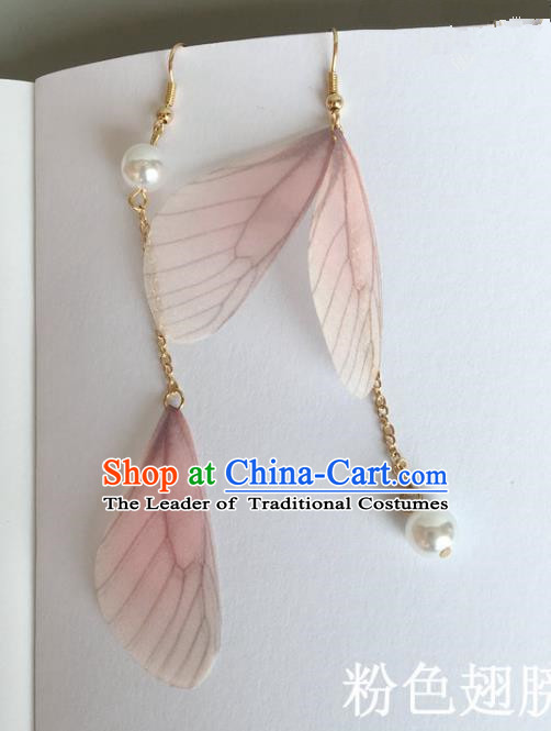 Handmade Wedding Accessories Pink Wing Earrings, Bride Ceremonial Occasions Pearl Tassel Eardrop for Women