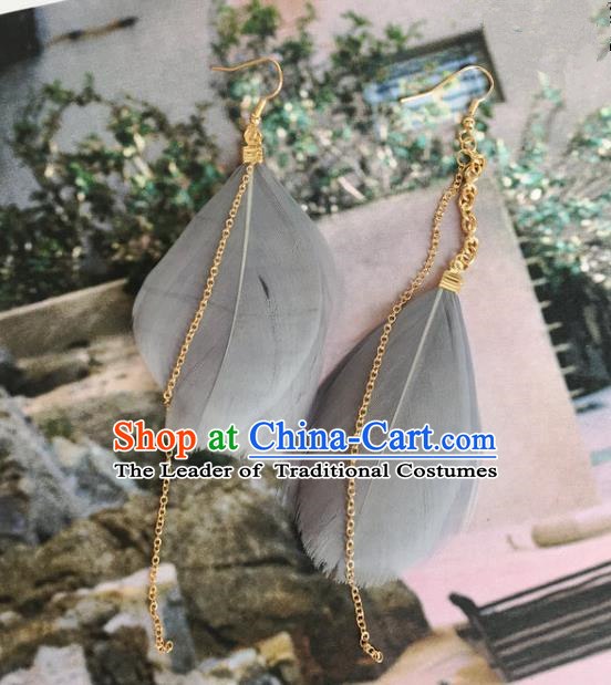 Handmade Wedding Accessories Grey Feather Earrings, Bride Ceremonial Occasions Tassel Eardrop for Women