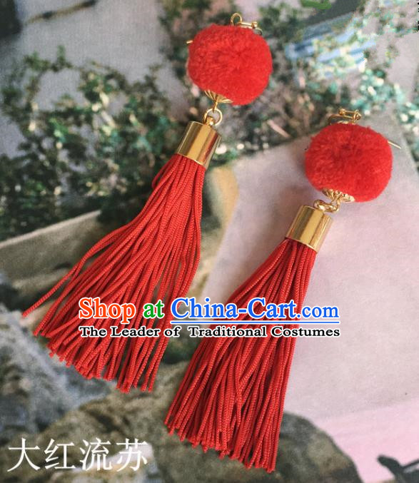 Handmade Wedding Accessories Red Earrings, Bride Ceremonial Occasions Tassel Eardrop for Women