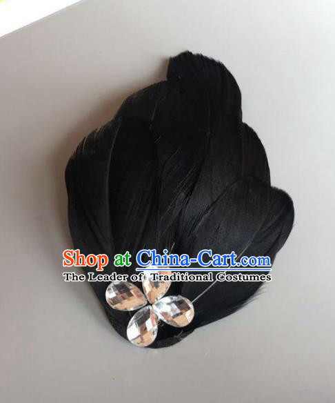 Handmade Baroque Hair Accessories Black Feather Headwear, Bride Ceremonial Occasions Ballet Hair Stick for Women