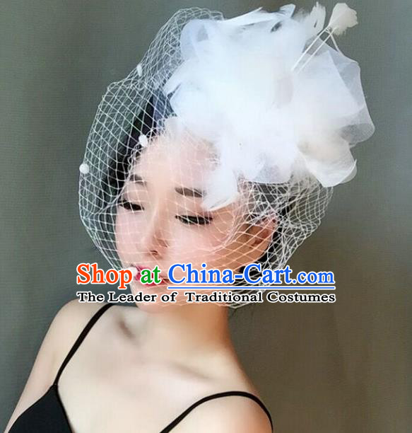Handmade Baroque Hair Accessories White Feather Headwear, Bride Ceremonial Occasions Veil Headpiece for Women