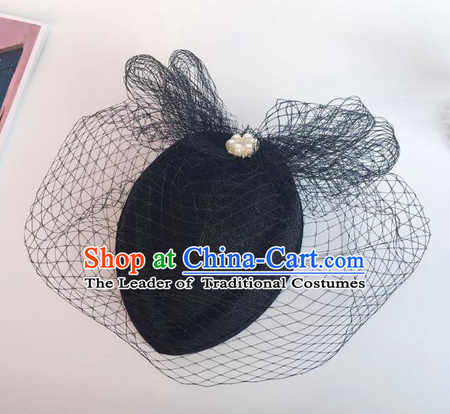 Handmade Baroque Hair Accessories Black Lace Headwear, Bride Ceremonial Occasions Veil Hat for Women