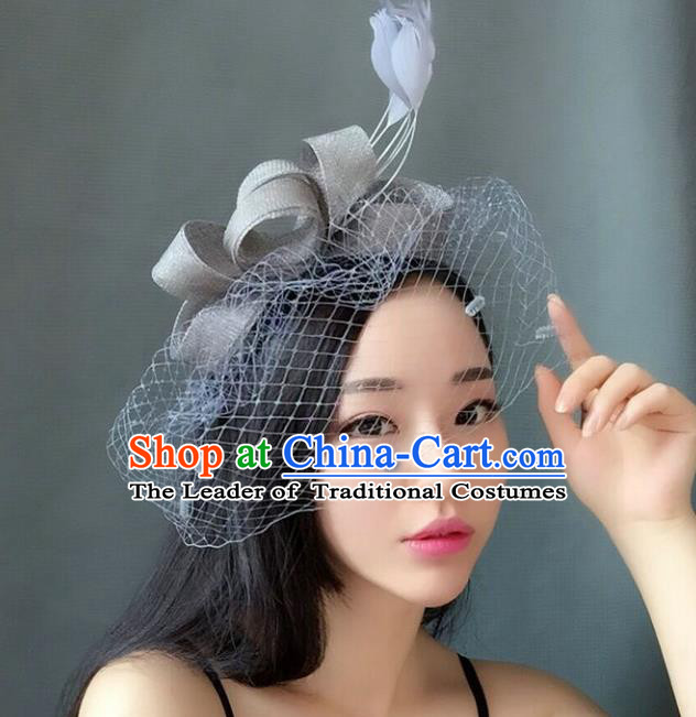 Handmade Baroque Hair Accessories Grey Feather Headwear, Bride Ceremonial Occasions Veil Hat for Women