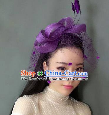 Handmade Baroque Hair Accessories Purple Feather Headwear, Bride Ceremonial Occasions Veil Hat for Women